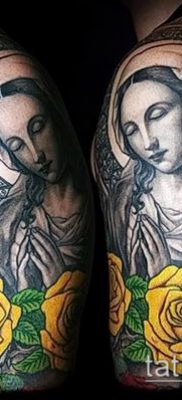 фото тату Дева Мария (значение) – пример интересного рисунка тату – 045 tatufoto.com