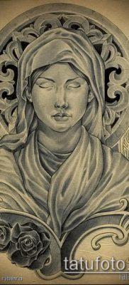 фото тату Дева Мария (значение) – пример интересного рисунка тату – 065 tatufoto.com