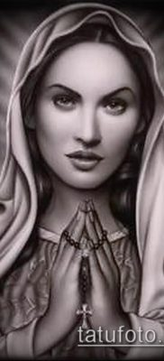 фото тату Дева Мария (значение) – пример интересного рисунка тату – 130 tatufoto.com