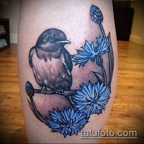 фото тату василек (cornflower tattoo) (значение) - пример рисунка - 002 tatufoto.com