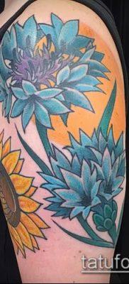 фото тату василек (cornflower tattoo) (значение) – пример рисунка – 023 tatufoto.com
