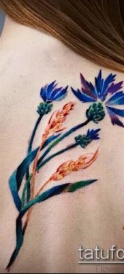 фото тату василек (cornflower tattoo) (значение) – пример рисунка – 024 tatufoto.com