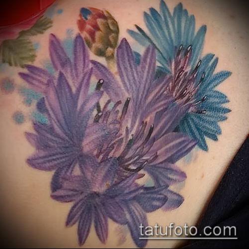 фото тату василек (cornflower tattoo) (значение) - пример рисунка - 032 tatufoto.com