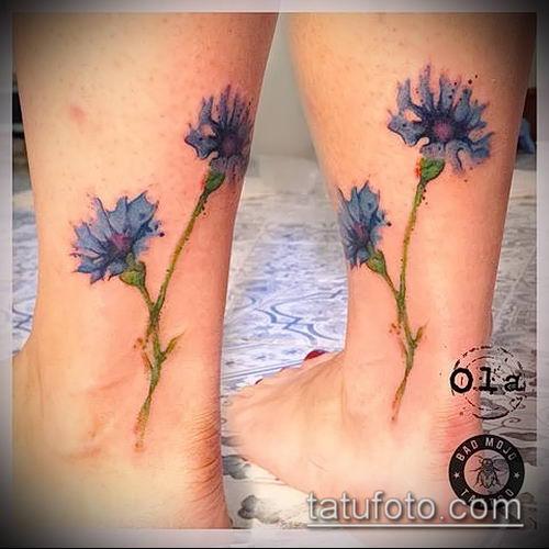 фото тату василек (cornflower tattoo) (значение) - пример рисунка - 034 tatufoto.com