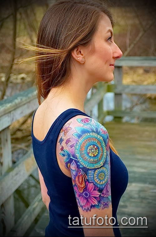 фото тату василек (cornflower tattoo) (значение) - пример рисунка - 038 tatufoto.com