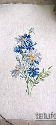 фото тату василек (cornflower tattoo) (значение) – пример рисунка – 046 tatufoto.com
