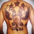 Тату герб с двуглавым орлом на спине - вариант для татуировки Герб России