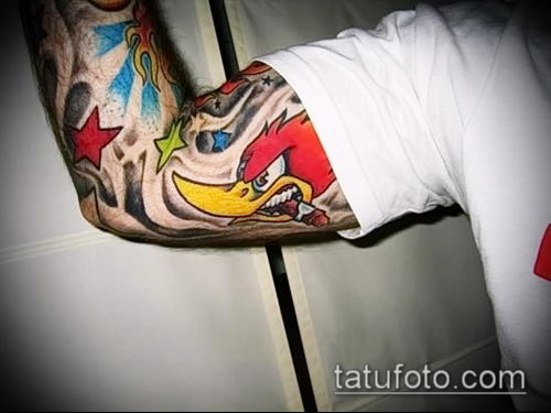 фото тату дятел (значение) - пример интересного рисунка тату - 010 tatufoto.com