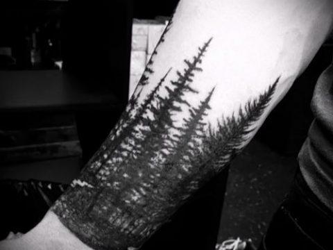 фото тату ель (tattoo spruce) (значение) - пример рисунка - 062 tatufoto.com