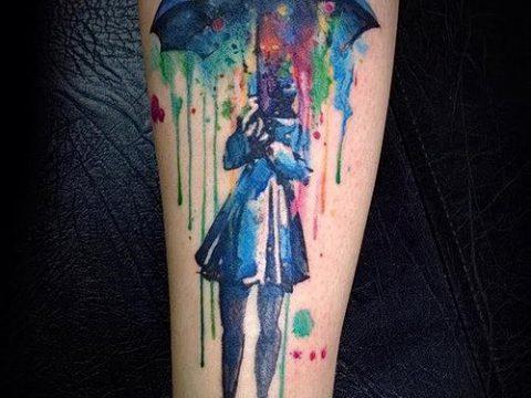 фото тату зонт (значение) - пример интересного рисунка тату - 071 tatufoto.com