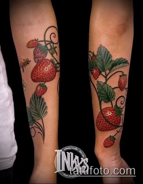фото тату клубника (Strawberry Tattoos) (значение) - пример рисунка - 007 tatufoto.com