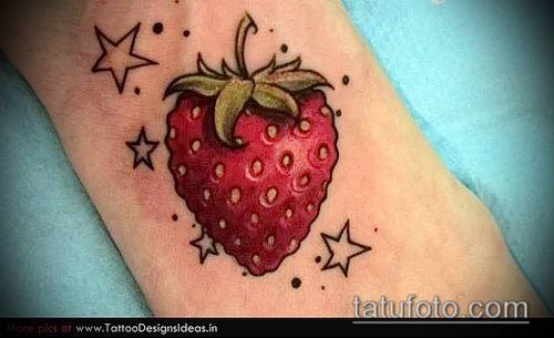 фото тату клубника (Strawberry Tattoos) (значение) - пример рисунка - 016 tatufoto.com