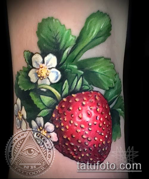 фото тату клубника (Strawberry Tattoos) (значение) - пример рисунка - 057 tatufoto.com