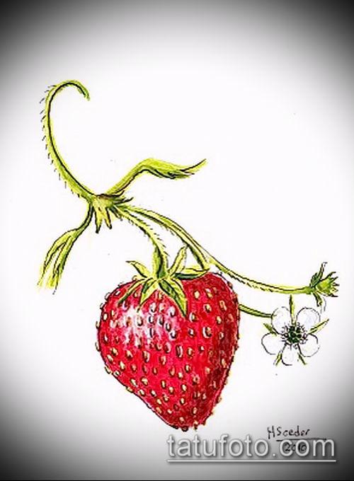 фото тату клубника (Strawberry Tattoos) (значение) - пример рисунка - 061 tatufoto.com