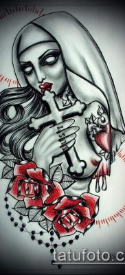 вариант эскиза для татуировки монашка – картинка