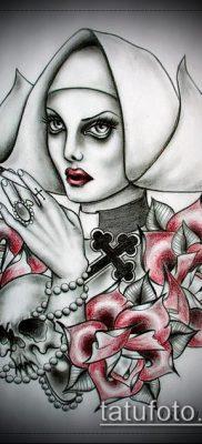 эскиз татуировки монашка – вариант
