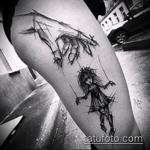 фото тату нитки с марионетка (tattoo) (значение) - пример рисунка - 006 tatufoto.com