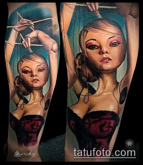 фото тату нитки с марионетка (tattoo) (значение) - пример рисунка - 014 tatufoto.com