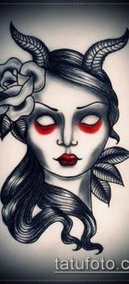 пример рисунка для тату черт – стилизованный образ девушки – эскиз