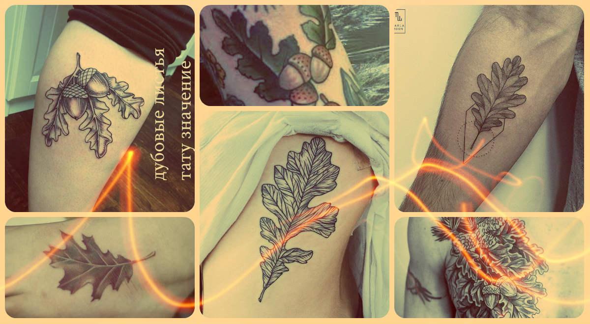 Значение тату дубовые листья - примеры готовых татуировок на фото - рисунки
