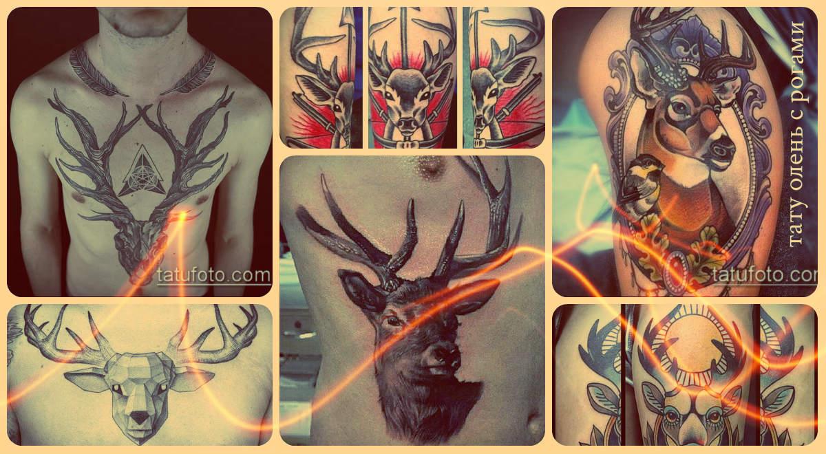 Значение тату олень с рогами - фото варианты рисунков для тату
