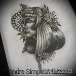 ТАТУИРОВКА КЛЕОПАТРА №456 - достойный вариант рисунка, который хорошо можно использовать для переработки и нанесения как татуировка клеопатра