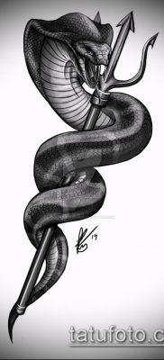 ТАТУИРОВКА ТРЕЗУБЕЦ №768 – эксклюзивный вариант рисунка, который хорошо можно использовать для доработки и нанесения как тату трезубец посейдона