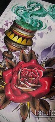 ТАТУИРОВКА ФАКЕЛ №947 – уникальный вариант рисунка, который удачно можно использовать для доработки и нанесения как татуировка факел с колючей проволокой