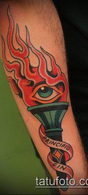 ТАТУИРОВКА ФАКЕЛ №268 – уникальный вариант рисунка, который удачно можно использовать для доработки и нанесения как татуировка факел с колючей проволокой