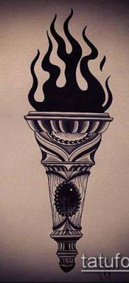 ТАТУИРОВКА ФАКЕЛ №477 – эксклюзивный вариант рисунка, который легко можно использовать для доработки и нанесения как татуировка факел в колючей проволоке