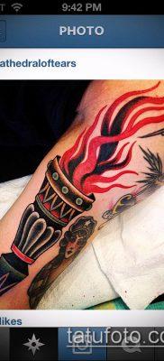 ТАТУИРОВКА ФАКЕЛ №503 – эксклюзивный вариант рисунка, который успешно можно использовать для преобразования и нанесения как татуировка факел с колючей проволокой