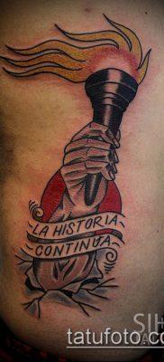 ТАТУИРОВКА ФАКЕЛ №390 – классный вариант рисунка, который успешно можно использовать для преобразования и нанесения как татуировка горящий факел