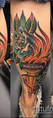 ТАТУИРОВКА ФАКЕЛ №343 – интересный вариант рисунка, который легко можно использовать для переработки и нанесения как татуировка факел в руке