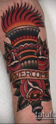 ТАТУИРОВКА ФАКЕЛ №785 – прикольный вариант рисунка, который удачно можно использовать для доработки и нанесения как татуировка факел на левой руке