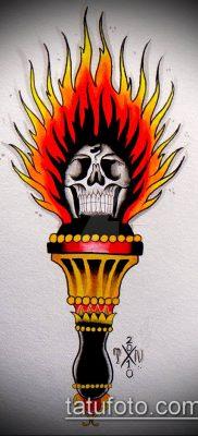 ТАТУИРОВКА ФАКЕЛ №108 – крутой вариант рисунка, который удачно можно использовать для доработки и нанесения как татуировка факел и розы