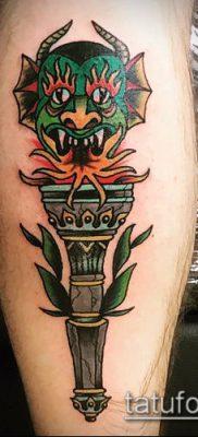 ТАТУИРОВКА ФАКЕЛ №211 – достойный вариант рисунка, который легко можно использовать для переделки и нанесения как татуировка факел в колючей проволоке