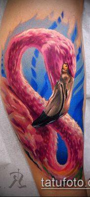 ТАТУИРОВКА ФЛАМИНГО №528 – эксклюзивный вариант рисунка, который легко можно использовать для доработки и нанесения как татуировка фламинго на ноге