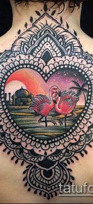 ТАТУИРОВКА ФЛАМИНГО №931 – прикольный вариант рисунка, который успешно можно использовать для переделки и нанесения как татуировка фламинго