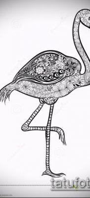 ТАТУИРОВКА ФЛАМИНГО №318 – уникальный вариант рисунка, который успешно можно использовать для доработки и нанесения как татуировка фламинго