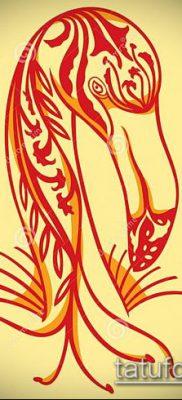 ТАТУИРОВКА ФЛАМИНГО №617 – достойный вариант рисунка, который удачно можно использовать для переделки и нанесения как татуировка фламинго на ноге