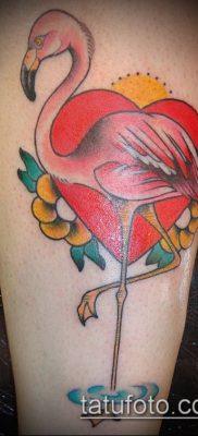 ТАТУИРОВКА ФЛАМИНГО №19 – уникальный вариант рисунка, который удачно можно использовать для преобразования и нанесения как татуировка фламинго на ноге