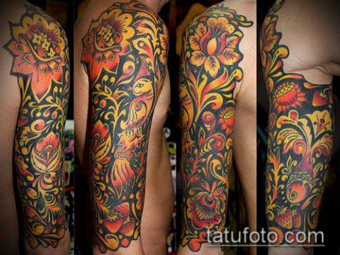 ТАТУИРОВКА ХОХЛОМА №133 - интересный вариант рисунка, который удачно можно использовать для переделки и нанесения как татуировка хохлома на ноге