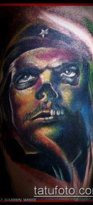 ТАТУИРОВКА ЧЕ ГЕВАРА №743 – интересный вариант рисунка, который успешно можно использовать для переработки и нанесения как татуировка че гевара на руке