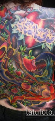 ТАТУИРОВКА ЯБЛОНЯ №949 – крутой вариант рисунка, который удачно можно использовать для переработки и нанесения как тату яблоня