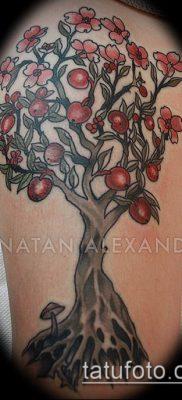 ТАТУИРОВКА ЯБЛОНЯ №781 – прикольный вариант рисунка, который хорошо можно использовать для преобразования и нанесения как татуировка яблоня