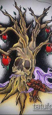 ТАТУИРОВКА ЯБЛОНЯ №653 – эксклюзивный вариант рисунка, который хорошо можно использовать для преобразования и нанесения как татуировка яблоня