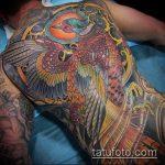 ЦВЕТНЫЕ ТАТУИРОВКИ №264 - прикольный вариант рисунка, который удачно можно использовать для преобразования и нанесения как татуировка сова цветная