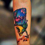 ЦВЕТНЫЕ ТАТУИРОВКИ №271 - эксклюзивный вариант рисунка, который удачно можно использовать для доработки и нанесения как цветные татуировки на ноге