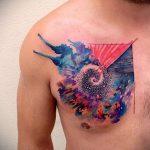 ЦВЕТНЫЕ ТАТУИРОВКИ №952 - интересный вариант рисунка, который успешно можно использовать для переработки и нанесения как татуировка сова цветная
