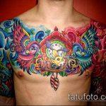 ЦВЕТНЫЕ ТАТУИРОВКИ №982 - прикольный вариант рисунка, который легко можно использовать для преобразования и нанесения как цветная татуировка на спине